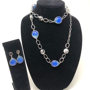 Chico's Faux Silver & Blue Necklace & Earrings